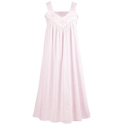 LA CERA Cotton Chemise - Lace V-Neck Nightgown with Pockets Nightgown - Pink - Large from LA CERA