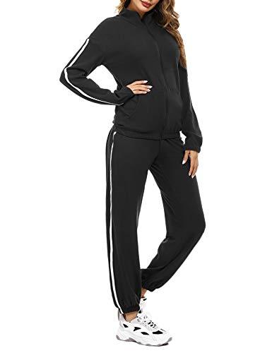 Aibrou Completo Sportivo da Donna Tuta Ginnastica Felpa con Zip e Pantaloni Lunghi a Vita Alta Due Pezzi Sportwear Casual Pigiama Invernale