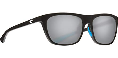 Costa Del Mar Women s Cheeca Square Sunglasses, Shiny Black Grey Silver Mirrored Polarized 580P, 57 mm