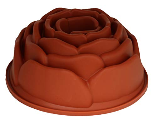 "Soltam Professional Cookware Rose Flower Shape Silicone Bundt Pan | Nonstick, Easy Release, Flexible Food Grade Silicone, Dishwasher Safe, 9"" x 4"""