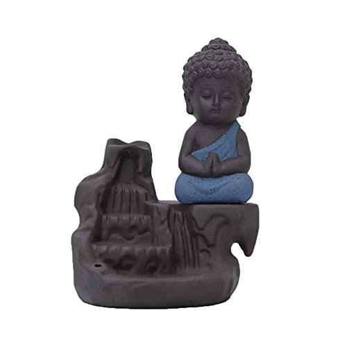 Candelabros Soporte de vela de Buda, incienso, pequeño, Monk, incensario, creativo, creativo, decoración para el hogar, soporte de incienso de Buda pequeño para el hogar, oficina de té. Candelabro dec