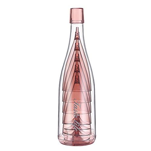 5 Piezas copas de champán Juego apilables,Flautas de vino irrompibles reutilizables con botella Envase,Elegante cubilete de copa transparente,Regalo perfecto para fiesta,Boda,Cumpleaños,Aniversario