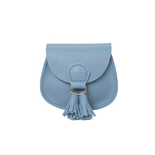 Merkts Mini-Kindertasche mit Quasten-Dekoration, für Lippenstift, Münzgeld, Kinder-Handtasche, Himmelblau