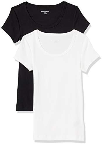 Amazon Essentials Women s 2 Pack Slim Fit Cap Sleeve Scoopneck T Shirt Black White Medium product image