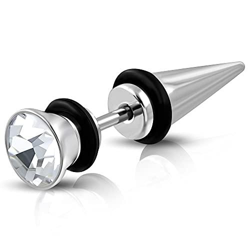 Tata Gisèle - Pendientes de acero inoxidable – Pincho plateado y cristal brillante