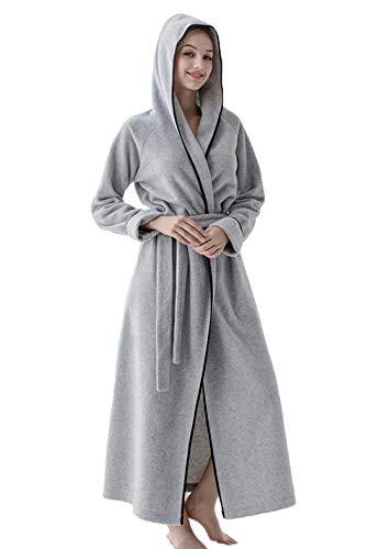 MAYIMY Hombres y mujeres otoño y pijama de invierno más ropa de cama con capucha de tamaño largo bata de baño casero