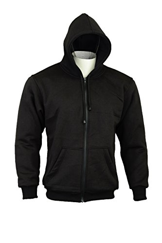Womens Ladies Motorcycle Hoody Hoodie Fully Lined with Dupont Kevlar Aramid Fibres & CE Armour Jacket (UK 10 EU 38, Black)