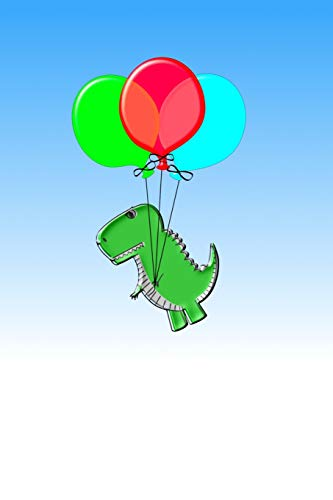 Cute and Angry Dino Flying with Party Balloons: 110 Page Blank Notebook - Ruled Paper Journal - 6 X 9 (15.24 X 22.86 CM)