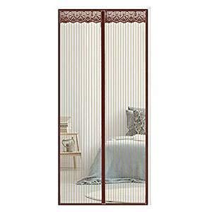 De vliegenhordeur houdt insecten op afstand en beschermt tegen inkijk, zonder gaatjes, houdt het gordijn tegen muggen, voor schuifdeuren, balkon, woonkamer, bruin, 100 x 220 cm