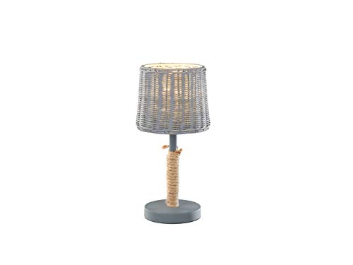 Große Rattanschirm LED Tischleuchte mit Seil und Korbgeflecht im Landhausstil, 18 cm rund