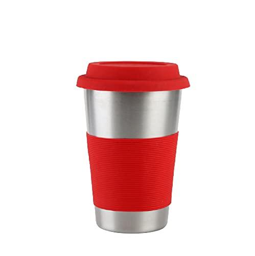N\C Taza Termo de 500 ml con Pajita y Tapa Botella de Agua de Acero Inoxidable Taza de Viaje de café Helado Rojo