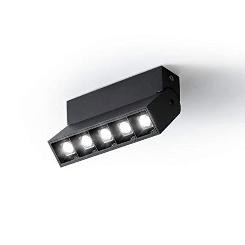 Moderno LED Lámpara de Techo Creativo Aluminio Lámpara de Techo Elegante Sala Comedor Habitación Estudiar Bar Iluminación de Techo Ángulo de Luz 15°/30°/45° Luz Cálida 3000K L13.8cm*H9.5cm,Negro
