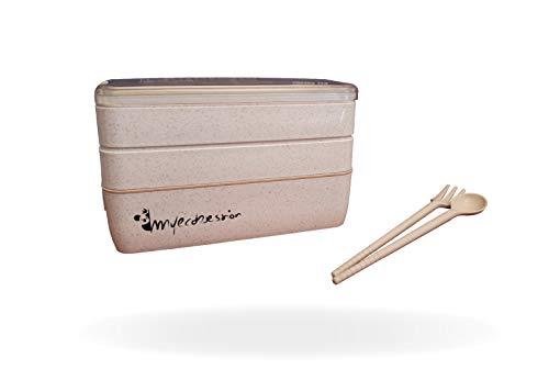 Yoonix MYECOBSESSION Lunch Bento Box Eco Friendly 3 compartimentos 900 ml con cubiertos y separador de fibra de trigo - Recipiente hermético para transportar y conservar alimentos - sin BPA