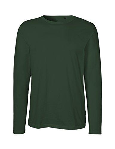 Green Cat- Herren Langarm T-Shirt, 100% Bio-Baumwolle. Fairtrade, Oeko-Tex und Ecolabel Zertifiziert, Textilfarbe: flaschengrün, Gr.: XL