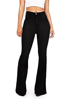 Vibrant Women s Juniors Bell Bottom High Waist Fitted Denim Jeans,Jet Black Denim,11