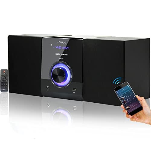 Micro Chaîne Stéréo HiFi Compacte pour la Maison avec Lecteur CD, Bluetooth, Radio FM, Entrée USB, AUX-in, écran LED et Bouton, télécommande