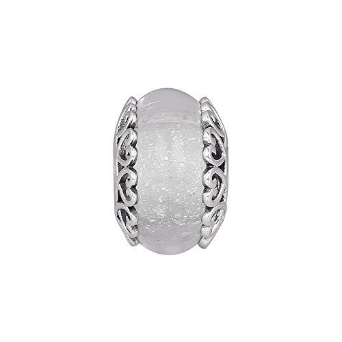 LIIHVYI Pandora Charms para Mujeres Cuentas Plata De Ley 925 Cristal De Murano Blanco Iridiscente Compatible con Pulseras Europeos Collars