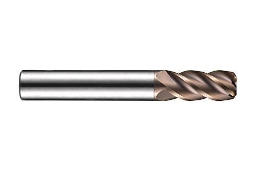 Dormer S5231.5XR0.2 Shank Corner Radius End Mill, TiSiN Coating, HM, R 0.2 mm, 1.5 mm Head Diameter, 4.5 mm Flute Length, 50 mm Full Length