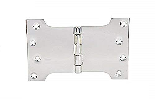 Ssiskcon Parliament Door Hinge Wide Throw Expandable Swing Clear Reversible Interior Exterior Nrp Mirror Polished 32 Stainless Steel 4 Inch x 5 Inch x 8 Inch with 8 Self Drilling Screws (Pack of 1)