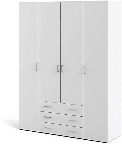 Dmora Armadio Guardaroba a Quattro Ante e Tre cassetti, Colore Bianco, cm 154 x 59 x h200