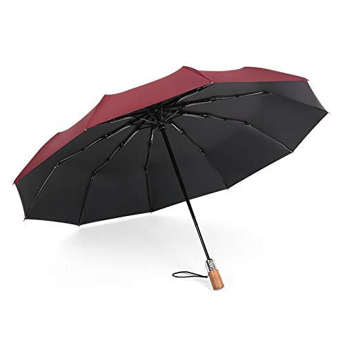 Diez Huesos A Prueba De Viento Tres Veces Lluvia Automática De Dos Usos Paraguas Plegables Hombres Negocio De Madera Maciza Retro Caballero Paraguas 23 años Rojo Rosa