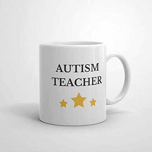 Taza de café para profesor de autismo, taza de cerámica para oficina y hogar, leche de té, cumpleaños para ella o él, 11 oz
