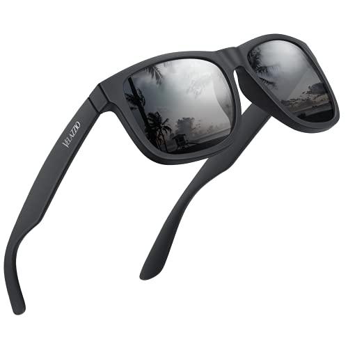 VELAZZIO Polarized Sunglasses for Men Women UV400 Protection Unisex sunglasses Ultralight Frame for Driving Cycling Golf Fishing Sailing, Black Frame Grey Lens