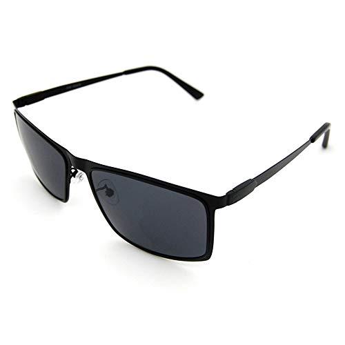 JKHOIUH Gafas polarizadas de protección UV Cuadrada para Hombres, Gafas de Sol de Estilo clásico Gafas de Sol de Gama Alta para Viajes al Aire Libre (Color : Negro)