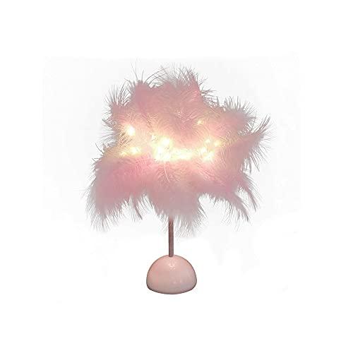 Zoo-yiltd Flexo Led Escritorio Lámpara de Mesa de Plumas, láminas de luz cálida Pantalla de Plumas, Dormitorio casero lámpara de Cama decoración Noche luz Fiesta Decorativa (Color : Pink)