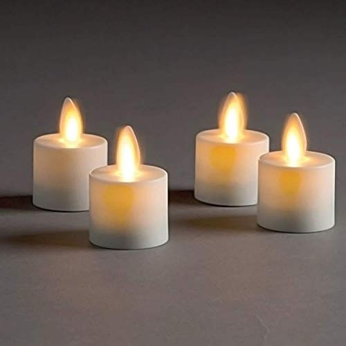 Garden Mile Set of 9 Ivory White Flameless Flame Free Flickering Battery Operated LED Large Tea Light Votive Candles with Remote Control and Timer