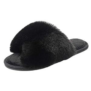 Women's Slippers, Cross Band Indoor or Outdoor Anti-Skid Fuzzy Soft Fleece House Slippers for Women Open Toe Memory Foam