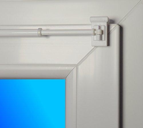 dekondo Gardinenstange Style ausziehbar 100-160cm Weiß - 1 Paar Klemmträger 10-27mm (Befestigung Oben oder seitlich möglich)