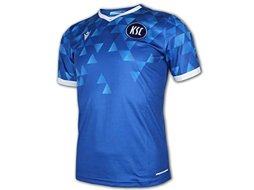 Macron Karlsruher SC Heim Trikot 20 21 blau KSC Home Shirt Fußball Fan Jersey, Größe:3XL