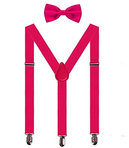 Aissy Herren Damen Hosenträger 2.5cm Y Form 3-Clips elastisch und längenverstellbar Hosenträger breit mit Fliege für Herren und Damen Hot Pink