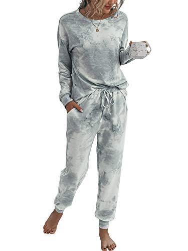 LOGENE Women's Tie Dye Pajamas Set Long Sleeve Sweatshirt and Long Pants Lounge Sets Sleepwear 2 Piece Loungewear (Grey, XL) 194-huibai-XL