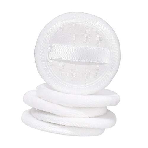 T TOOYFUL 5pcs Doux Coton Velours Houpette Poudre Libre Puff avec Sangle de Ruban de Satin Doux pour Maquillages Demaquillages - blanc