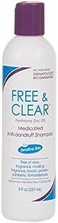 Vanicream Free & Clear Medicated Anti-Dandruff Shampoo for sensitive skin - all hair types - maximum OTC strength zinc pyrithione 2% - preservative free - dermatologist tested - 8 ounce