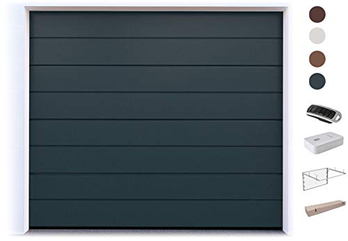 DoorHan Sektional Garagentor mit Antrieb und Handsender | zu Selbstmontage | Größen wählbar | 5 Farben (2500 x 2150, RAL 7016 (Anthrazitgrau))