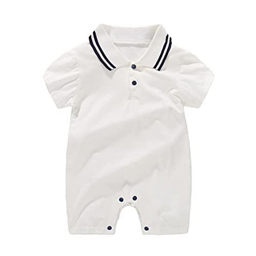 FURONGWANG6777BB Newborn Baby Boy One Piece Momper Gentleman Trajes de Manga Corta Mono Collar Portés Pantalones Cortos General Ropa de Verano (Color : White, Size : 80CM)