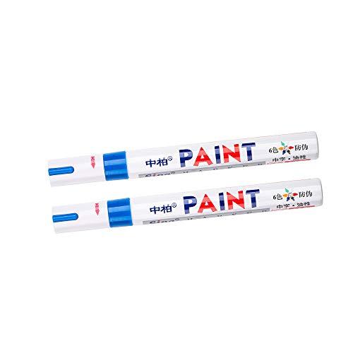 2 rotuladores de pintura permanente, universal, impermeable, para neumáticos de coche, goma de metal, color azul