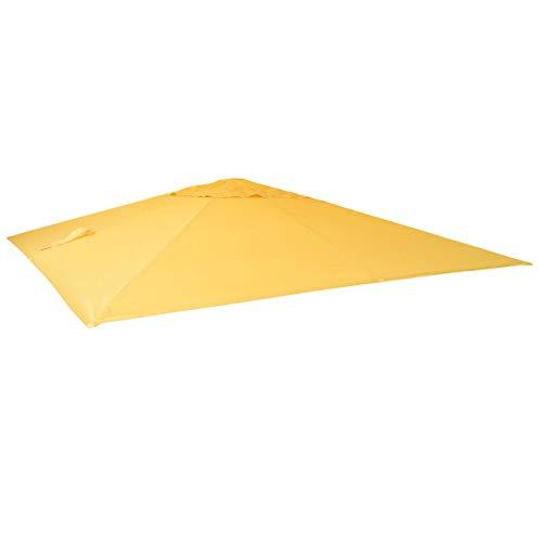 Mendler Bezug für Luxus-Ampelschirm HWC-A96, Sonnenschirmbezug Ersatzbezug, 3x3m (Ø4,24m) Polyester 2,7kg ~ gelb