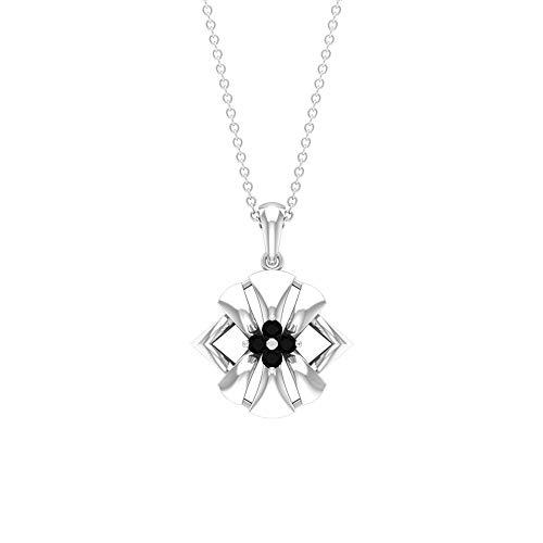 Custom 0,12 ct Brillante Corte Brillante Certificado Diamante Negro Oro Grabado Colgante, Mujer Aniversario Charm Gota Colgante Vintage Flor,10K Oro blanco Con cadena