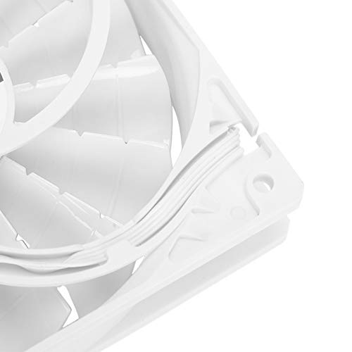 Ventilador de chasis de Alto Volumen de Aire, enfriamiento de computadora con Ventilador de chasis de cojinete hidráulico 15 aspas 4 Pines para PC(White 4PIN, Pisa Leaning Tower Type)