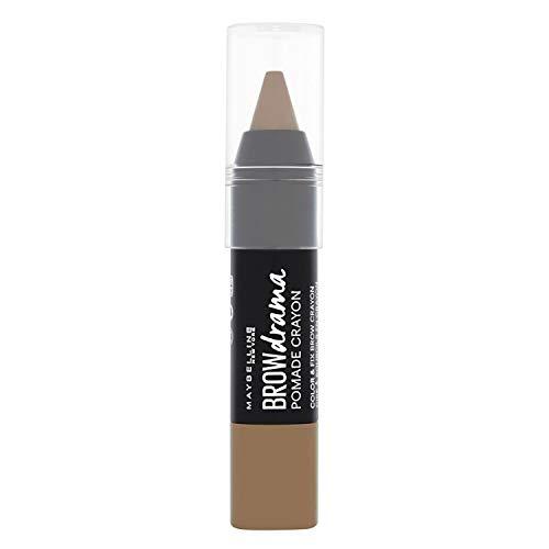 Maybelline Brow Drama Pomade Crayon in Medium Brown, Augenbrauenstift, zum Formen und Betonen von Augenbrauen, mit cremiger Textur, hoch pigmentiert, einfache Anwendung, 1,1 g