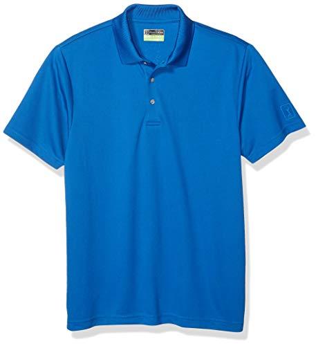 PGA TOUR Men's Airflux Short Sleeve Solid Polo-Shirts, Classic Blue, L