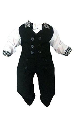 Taufanzug Baby Junge Kinder Kind Taufe Anzug Hochzeit Anzüge Festanzug, 4tlg , Schwarz-Weiß, Gr.92 K11A