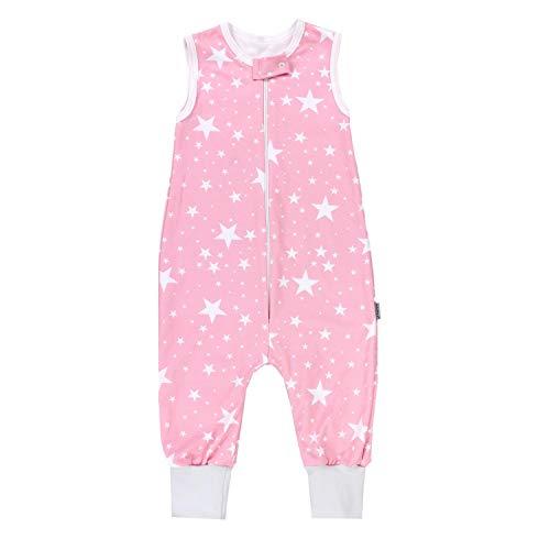 TupTam Unisex Babyschlafsack mit Beinen Unwattiert, Farbe: Weiße Sterne/Rosa, Größe: 104-110