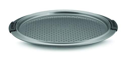 Anolon Advanced Nonstick Bakeware 13-Inch Pizza Crisper, Gray with Silicone Grips