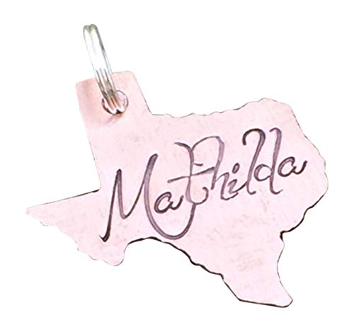 State of Texas (Or Select Your State) Copper Pet Name Tag Medium 1' Max. Custom Pet Id Tag Personalized Hand-Stamped Dog Cat Name Tag Pet Supply