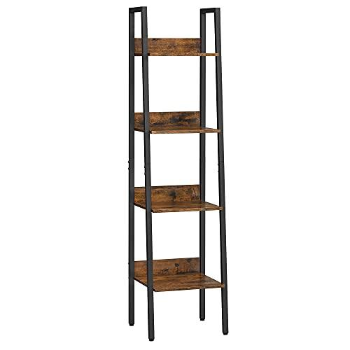 VASAGLE Bücherregal, Leiterregal, offen, mit 4 Ebenen, Metallgestell, für Wohnzimmer, Schlafzimmer, Küche, Arbeitszimmer, Büro, Industrie-Design, vintagebraun-schwarz LLS108B01